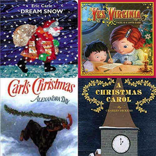Christmas books collage