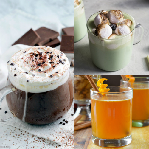 collage of hot christmas drinks