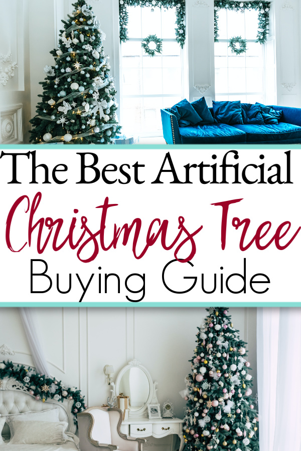 two beautiful decorated artificial christmas trees
