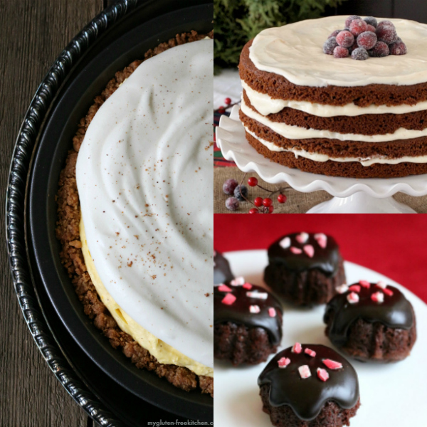 collage of gluten-free christmas desserts