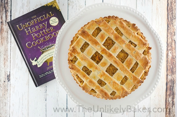 Treacle Tart on plate with Harry Potter cookbook