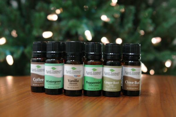 Christmas essential oils sitting on table in front of Christmas tree