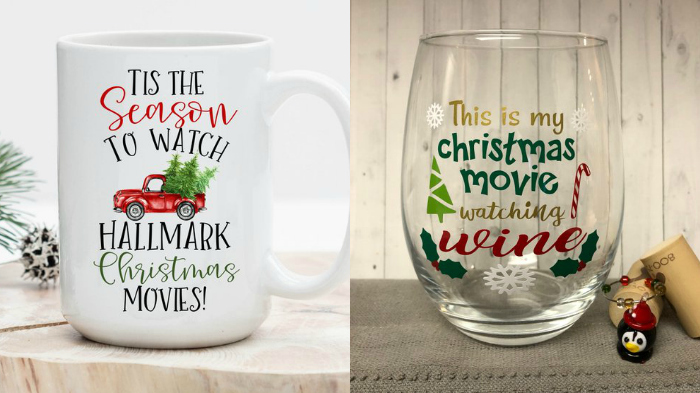 Christmas movies mug and Christmas movies wine glass