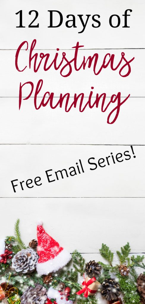 "Christmas and New Year on white, with text- ""12 days of Christmas Planning, free email series"""