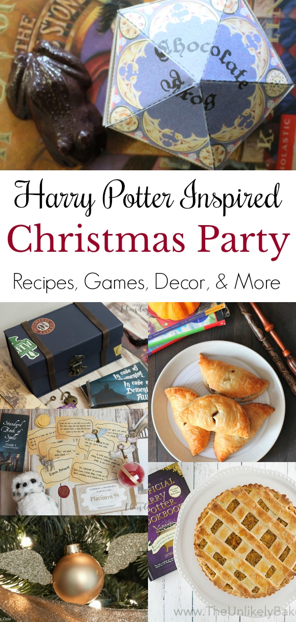 collage of harry potter themed decor and food