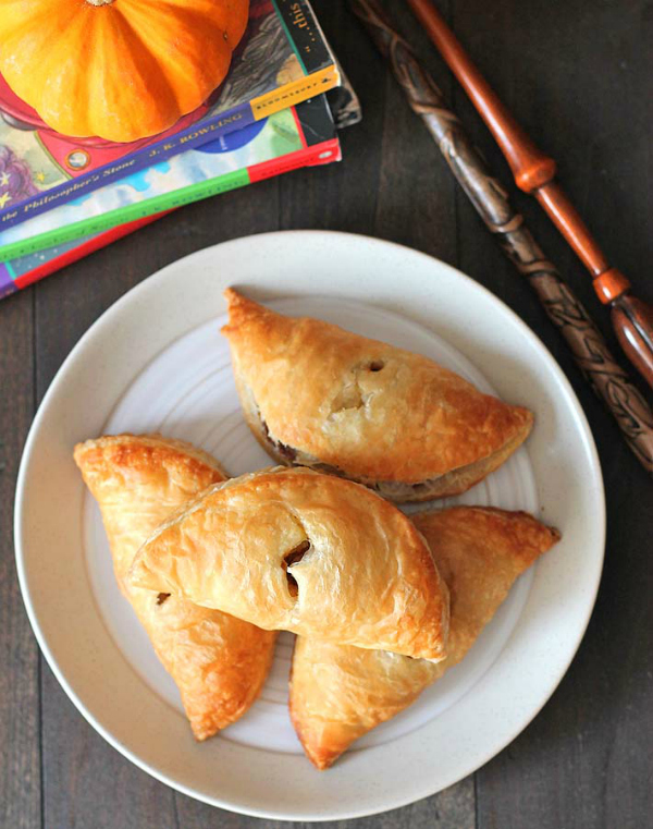 Harry Potter pumpkin pasties on white plate
