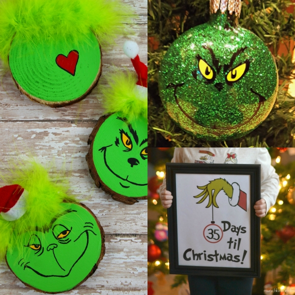 collage of grinch crafts