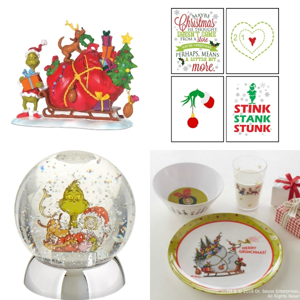 collage of grinch decor