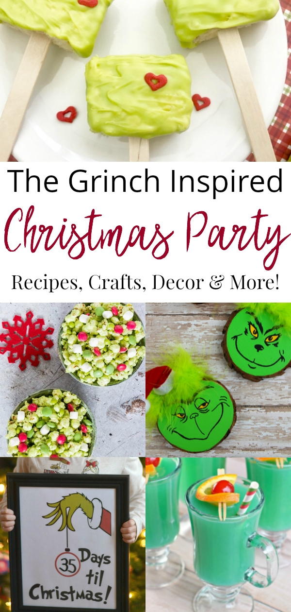 collage of the Grinch recipes, crafts, and decor