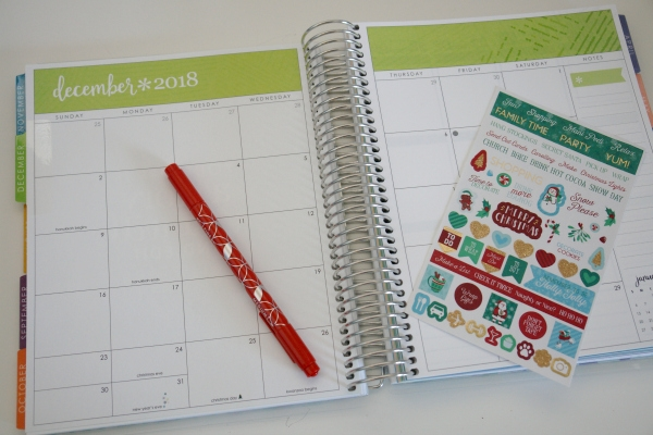 Erin Condren planner and Christmas stickers