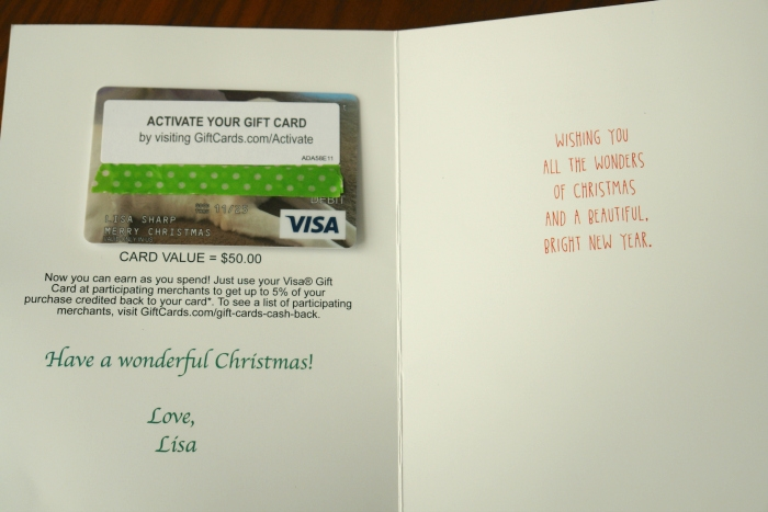 Inside of card from giftcards.com
