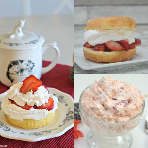 Collage of red and white desserts