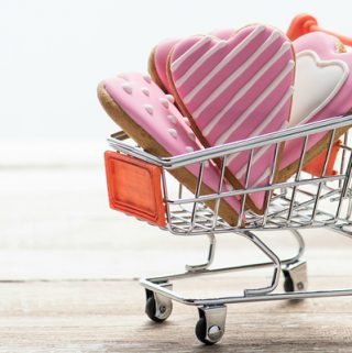 Shopping trolley full of heart shaped cookies