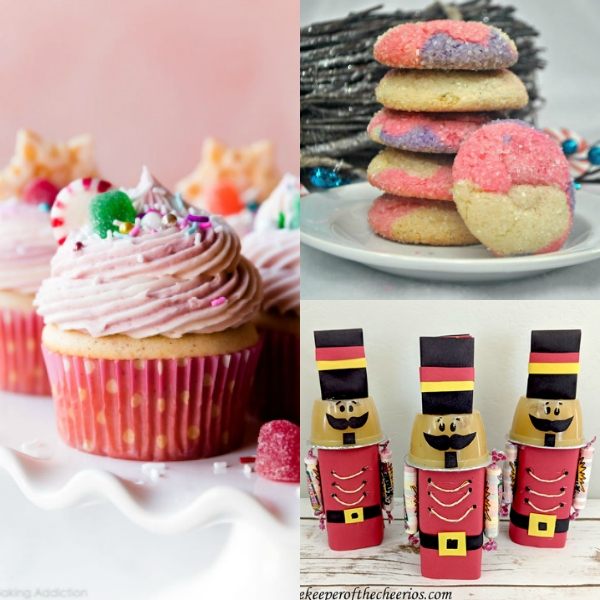 collage of Nutcracker themed recipes