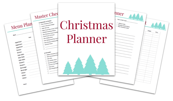 some of the Christmas planner pages