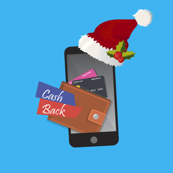 graphic of cell phone with Santa hat and wallet