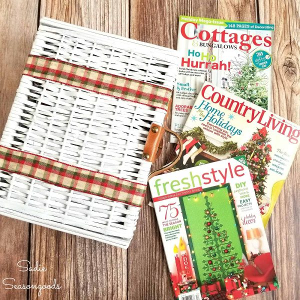 white picnic basket and Christmas magazines