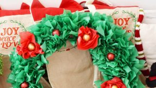 Tissue Paper Christmas Candy Wreath