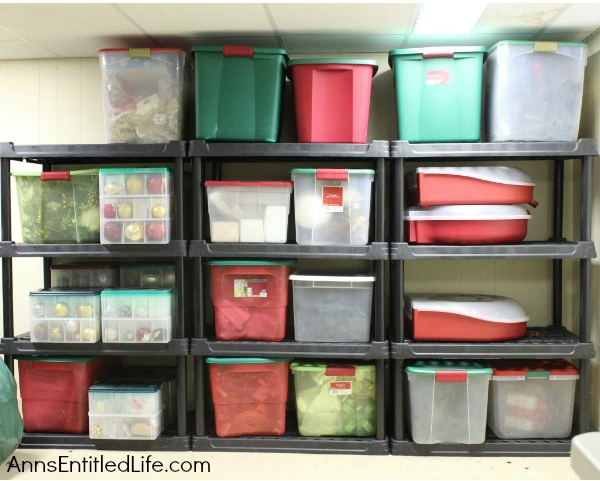 Christmas storage boxes on shelves