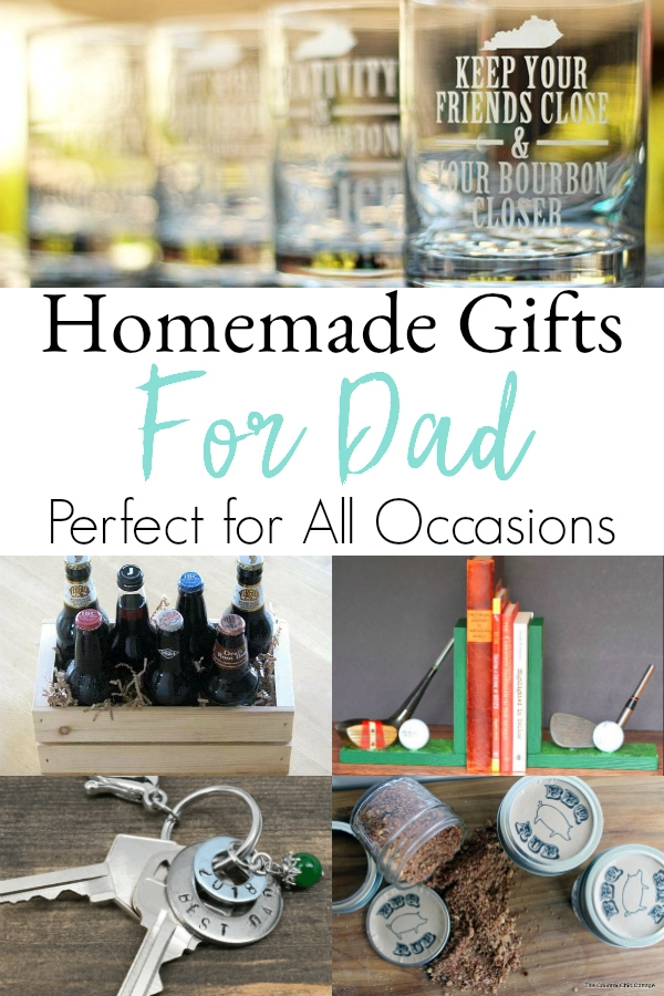 collage of DIY gift ideas for dads