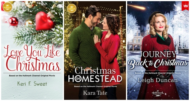 collage of Hallmark Christmas book covers