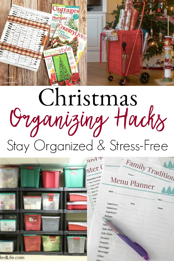 collage of organized christmas hacks