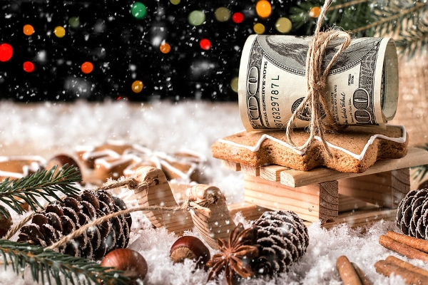 Money Christmas Gift with wooden sled