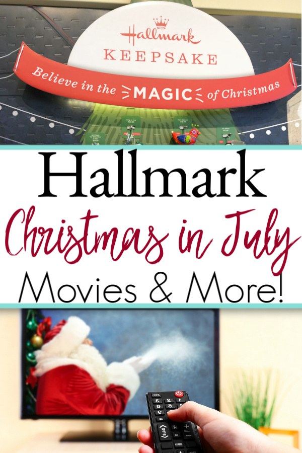 collage with Hallmark ornament display and Christmas movie on tv