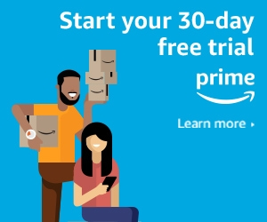 graphic with couple holding packages with text overly start your 30-day free trial prime learn more