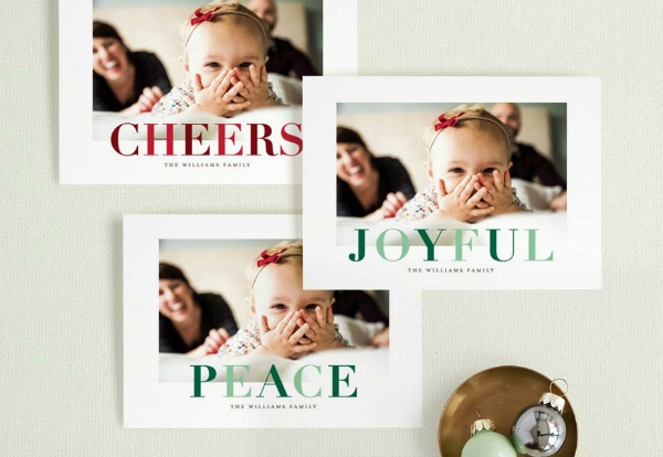 samples of Christmas cards from Minted