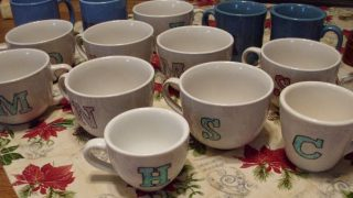 Monogrammed coffee cups