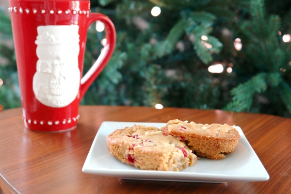 cranberry white chocolate blondies with christmas mug