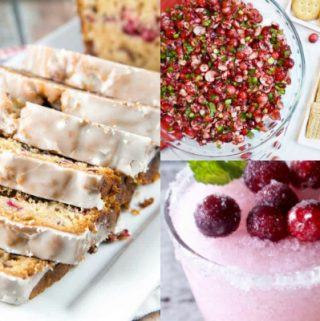 collage of cranberry recipes