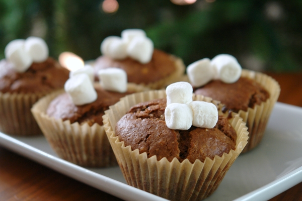 hot chocolate muffins in front of Christmas tree