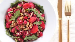 FESTIVE VEGAN SALAD WITH CRANBERRY DIJON VINAIGRETTE