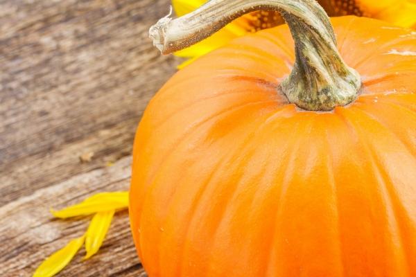 orange pumpkin on table