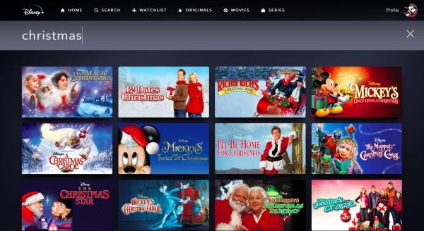 screen shot of Christmas movies on Disney Plus