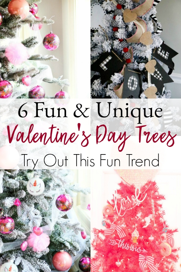 collage of Valentine's Day trees