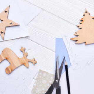 christmas crafting supplies on table