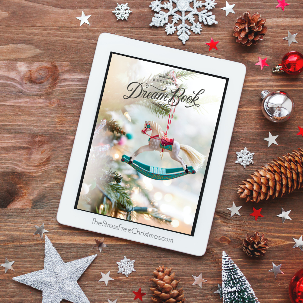 tablet with Hallmark Dream Book on christmas background