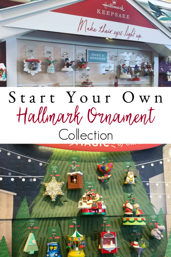 Hallmark ornaments on displays in store