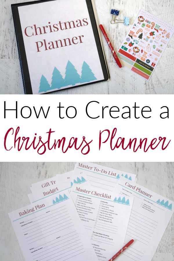 collage featuring Christmas planner and supplies