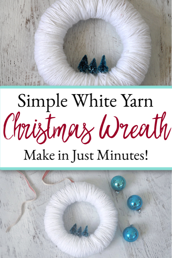 collage of pictures of white yarn Christmas wreath with mini christmas trees