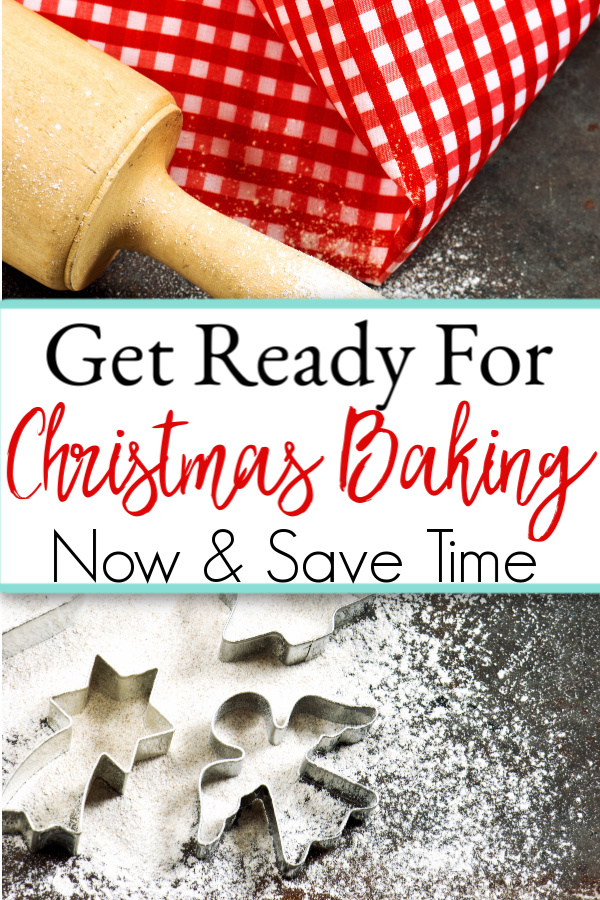 rolling pin, red check towel and Christmas cookie cutters