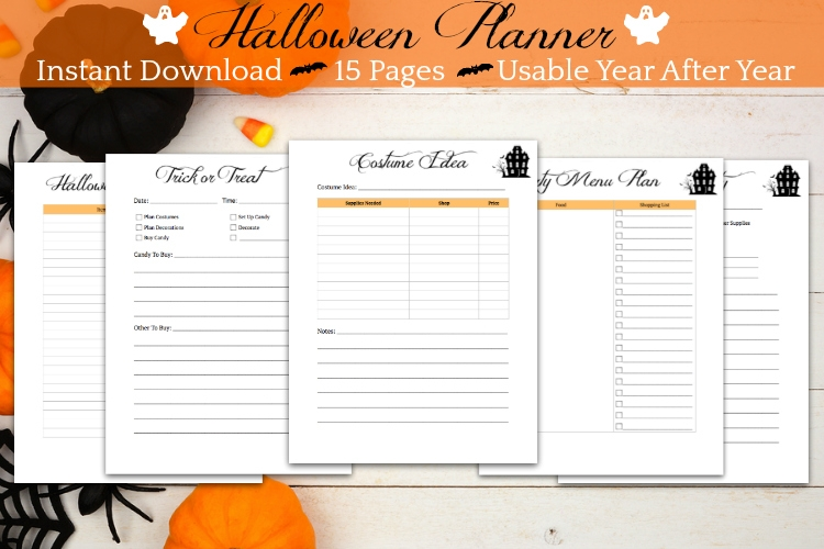 halloween planner sheets on table with halloween decor