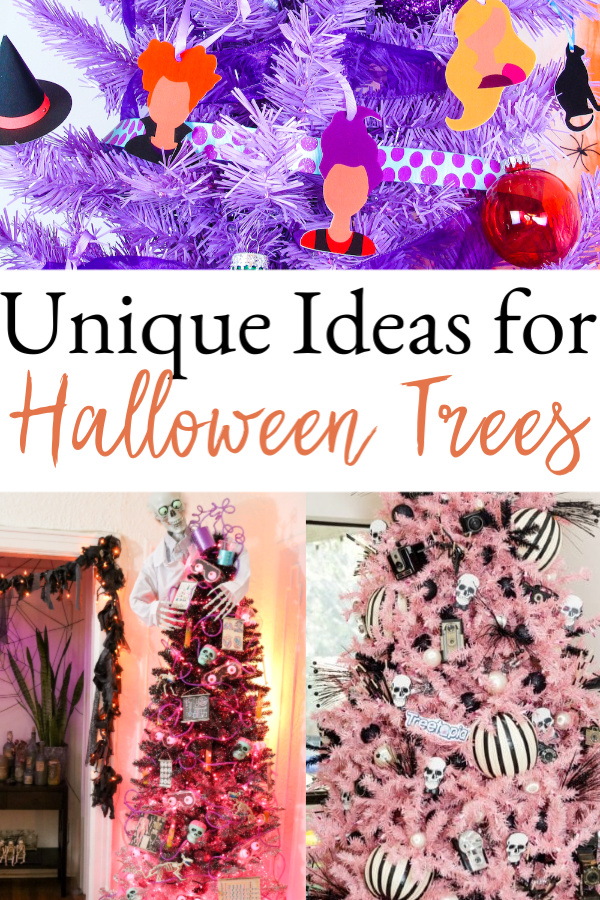 collage of halloween trees