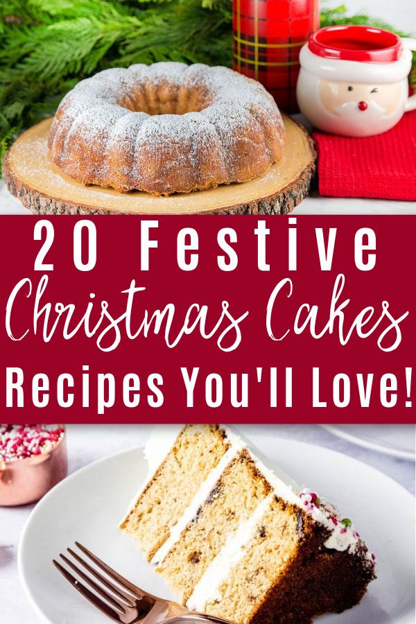 christmas bundt cake and slice of christmas cake