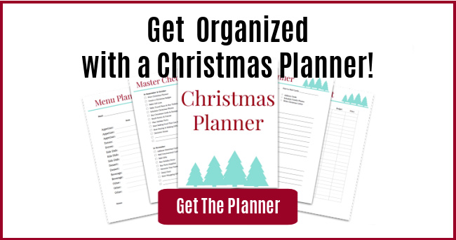 Christmas planner ad with get the planner button""