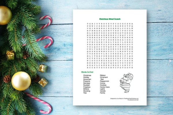 Christmas decoration with fur and baubles on old wood and Christmas word search