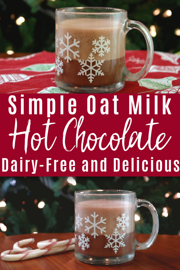 collage of oat milk hot chocolate in front of Christmas tree